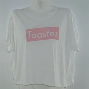 The Morning Toast 'Toaster' Pink & White Crop Top